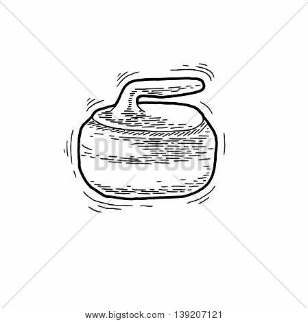 Curling game element. Hand Drawing of Curling Rocks. Stone for curling on isolated background. Curling sport equipment vector sketch. Curling game logo