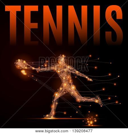 Abstract line tennis player in motion. Silhouette of a man made of lines and points. Polygonal background tennis competitions. Fire style vector illustration.