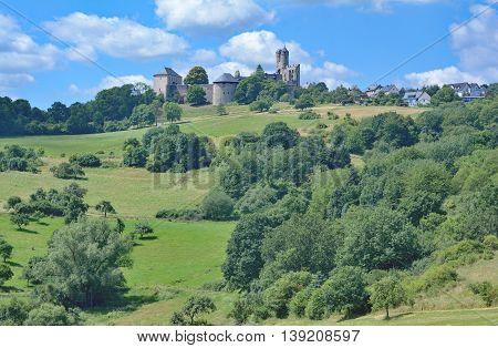 View to Village of Greifenstein in Westerwald region,Rhineland-Palatinate,Germany
