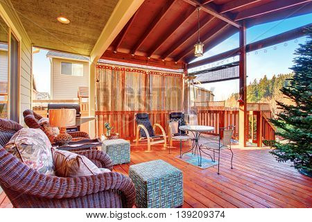 Exterior Covered Patio With Furniture.