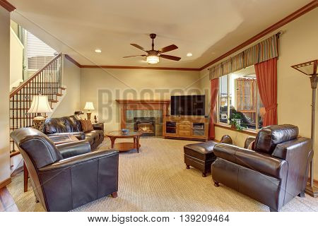 Luxury Living Room Interior With Fireplace And Carpet Floor