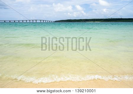 Maehama Beach and Kurima Bridge of Miyako Island in Okinawa, Japan.