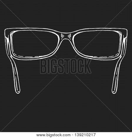 sunglasses vector. hand drawn doodle style icon. Doodle style sunglasses vector illustration. Glasses on blackboard. Blank eyeglasses vector template