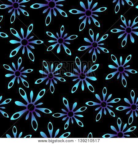 Blue neon splash flowers in space seamless texture