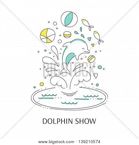 Vector doodle illustration for oceanarium or dolphinarium. Clean elegant dolphin show background. For posters, cards, brochures and flyers, souvenirs, invitations, website designs.