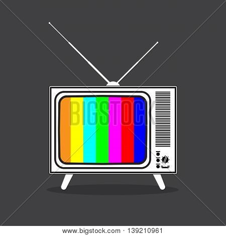 Vintage retro TV with antenna and adjust screen in wooden case. contrast black and white colors, vector illustration in flat style isolated on dark background