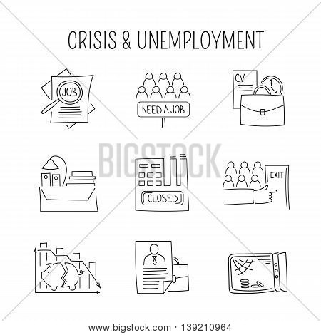 Hand drawn thin line icons set, vector illustration. Unemployment and crisis isolated symbols. Black on white pictograms. Simple mono linear modern design.