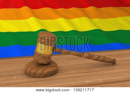 Homosexual Rights Concept - Gay Pride Flag Behind Judge's Gavel 3D Illustration
