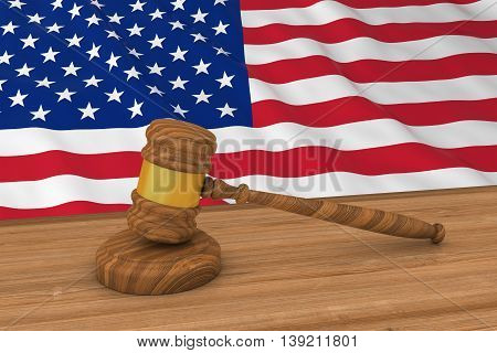 American Law Concept - Flag Of The United States Behind Judge's Gavel 3D Illustration