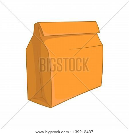 Paper bag with lunch icon in cartoon style on a white background