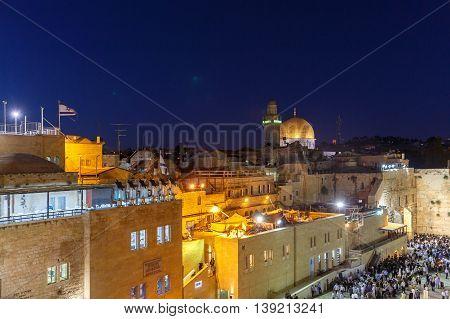 Jerusalem, Israel - July 01, 2016: Top Of Mosque Of Al-aqsa In Jerusalem At Night
