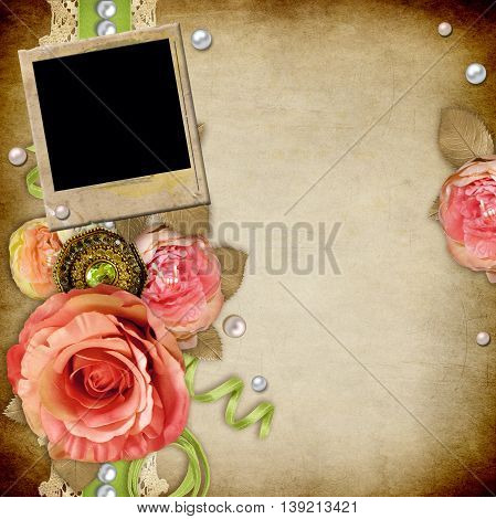Vintage background with roses lace ribbon pearls