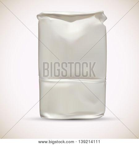 Blank wheat flour paper packaging bag vector template.