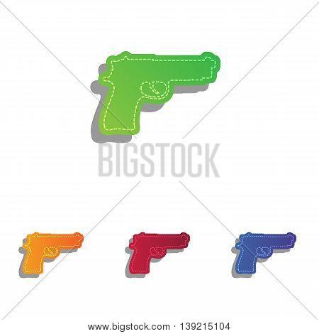 Gun sign illustration. Colorfull applique icons set.
