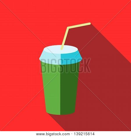 Green paper cup with lid and straw icon in flat style on a red background