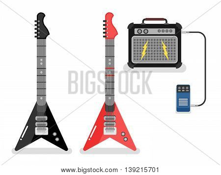 Guitar and amplifier isolated on white. Flat vector illustration