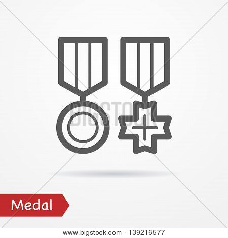 Abstract simplistic combat medal icon in silhouette line style with shadow. Army vector stock image.