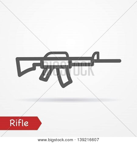 Abstract simplistic rifle icon in silhouette line style with shadow. Military vector stock image.