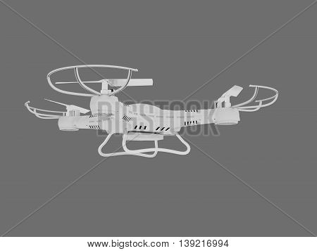 3D Illustration of Unmanned Aerial Vehicle drone with camera on dark background.