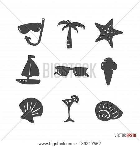 Summer time design icons elements in hand drawn style - sunglasses, starfish, shell, glass, palm, boat, ice cream, mask for swimming. Vector season illustration about relax, sea, ocean and vacation.