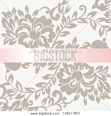 Vector Wedding Invitation card with lace lily flower ornament. Delicate lace design card with shinny bow. Beige color
