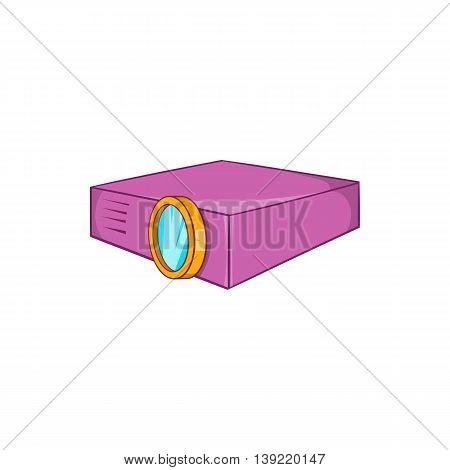 Multimedia projector icon in cartoon style on a white background