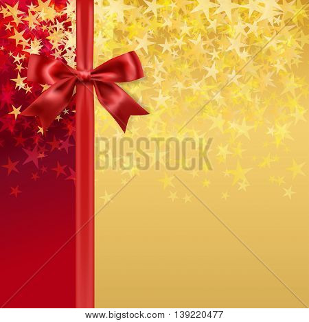 red silky bow and ribbon on starry holiday golden background. vector
