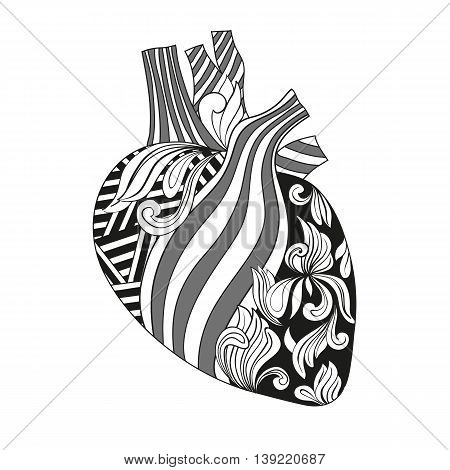 Vector illustration Coloring heart with veins and arteries, styled with geometric and floral patterns.