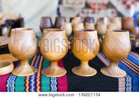 Four Wooden Cups