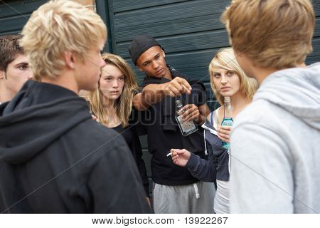 Group Of Threatening Teenagers Hanging Out Together Outside Drinking poster