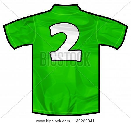 Number 2 two green sport shirt as a soccer, hockey, basketball, rugby, baseball, volley or football team t-shirt. Like Ireland or Mexico national team
