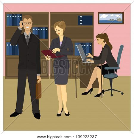 Reception Manager Secretary and office workers. Vector illustration