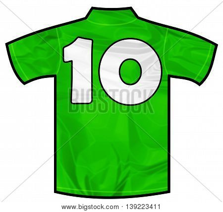 Number 10 ten green sport shirt as a soccer, hockey, basketball, rugby, baseball, volley or football team t-shirt. Like Ireland or Mexico national team