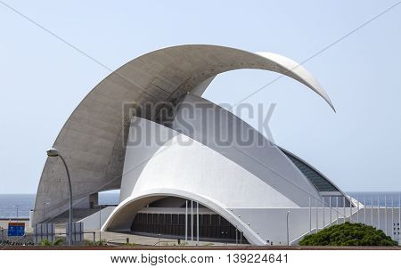 TENERIFE SPAIN - AUGUST 12 2015 : Auditorio de Tenerife - futuristic and inspired in organic shapes building designed by Santiago Calatrava in Santa Cruz de Tenerife Canary Islands Spain
