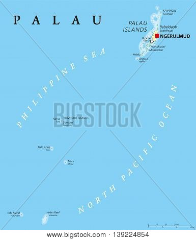 Palau political map with capital Ngerulmud. Republic and island country in North Pacific Ocean forming the western chain of Caroline Islands in Micronesia. English labeling. Illustration.