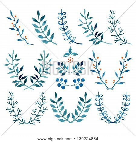 Watercolor floral set of blue wreaths and laurels. Hand painted raster illustration