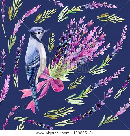 Blue jay with lavender seamless pattern on a vivid blue background. Hand painted watercolor illustration.
