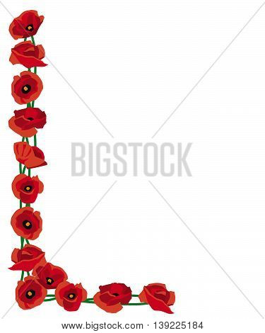 Corner border of red poppies for remembrance or decoration