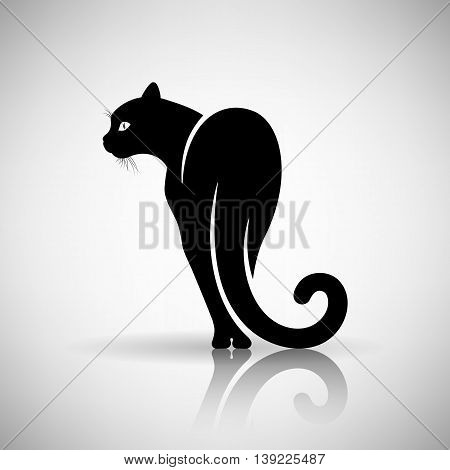 stylized black cat on a light background