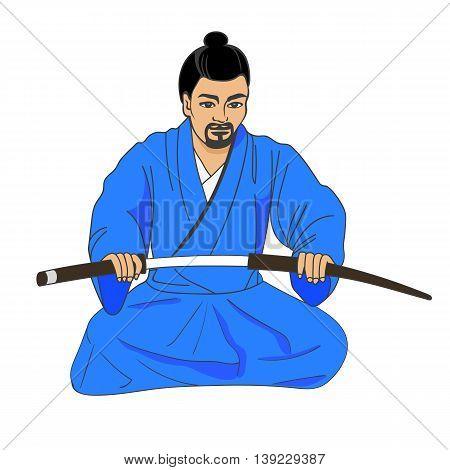 Vector illustration of a Japanese samurai ronin preparing for seppuku. Isolated white background. The concept of hara-kiri.