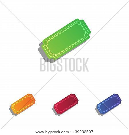 Ticket sign illustration. Colorfull applique icons set.