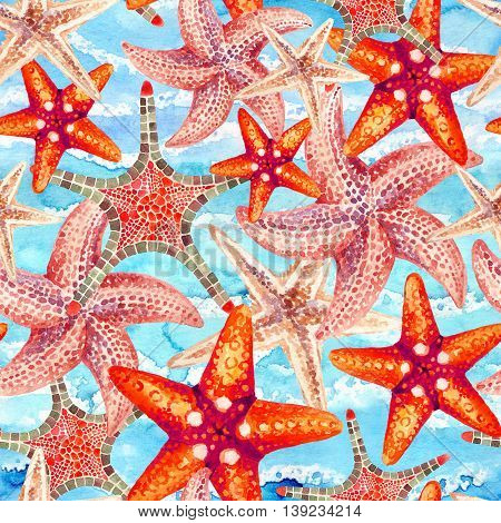 Watercolor starfishes on sea waved background. Hand painted illustration for marine design. Sea and ocean design
