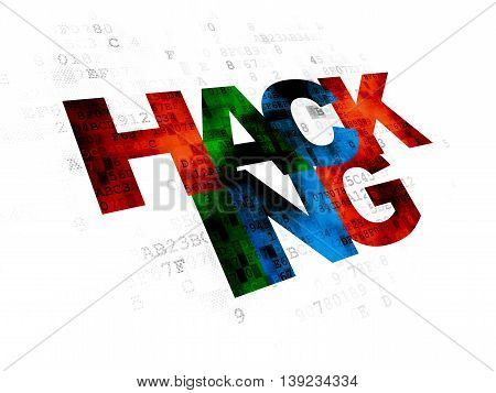 Security concept: Pixelated multicolor text Hacking on Digital background