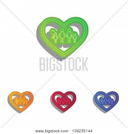Family sign illustration in heart shape. Colorfull applique icons set.