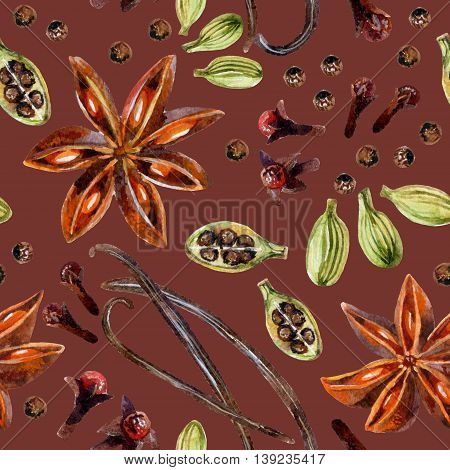 Watercolor seamless pattern with star anise allspice vanilla cloves and cardamon hand painted illustration