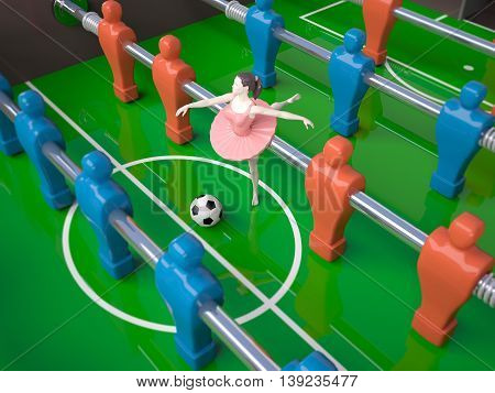 football table with red and blue players and a dancer girl female sports concepts 3d illustration