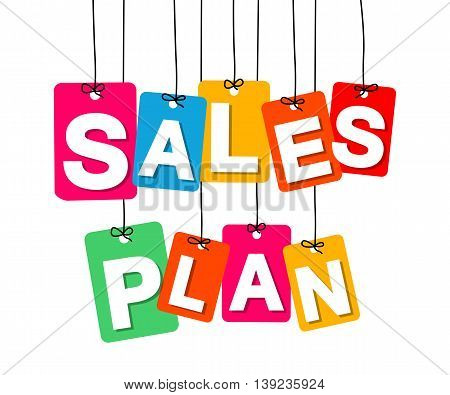 Vector colorful hanging cardboard. Tags - sales plan on white background