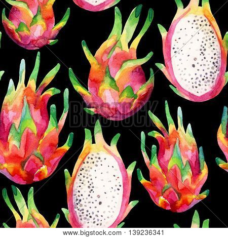 Watercolor dragon fruit seamless pattern on black background. Watercolor pitaya background. Hand painted exotic fruit illustration