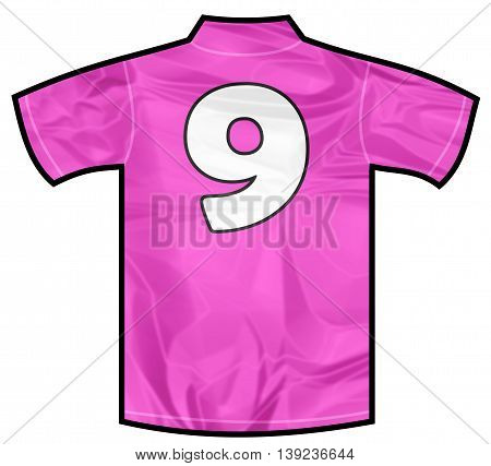 Number 9 nine pink sport shirt as a soccer, hockey, basket, rugby, baseball, volley or football team t-shirt. For the goalkeeper or woman player
