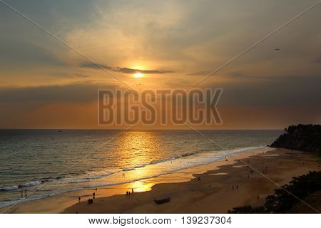 Sunset on the Varkala beach. South India